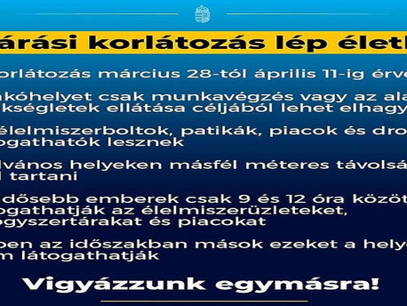 Szombattól kijárási korlátozások Magyarországon