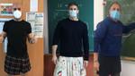 Spanyol férfi tanárok szoknyában tiltakoznak