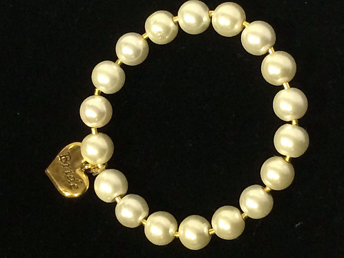 White Cultured Pearl Braclelet & 9k Gold Spacers