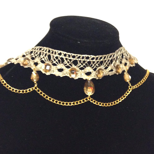 Gold Lace Choker/Headpiece with Swarovski Elements Beads and Gold Plated Chain
