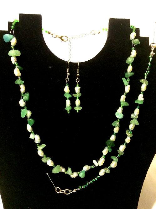 Green Agate & Green Freshwater Pearl  Set