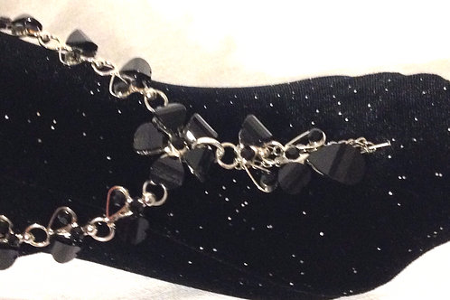 Foot Thong - Black glass beads & silver plated chain