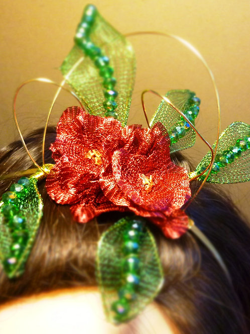 Fascinator -with Green Swarovski Elements Crystals