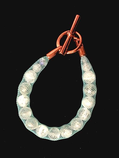Swarovski-esque Bracelet-White Mesh,Large Crystal