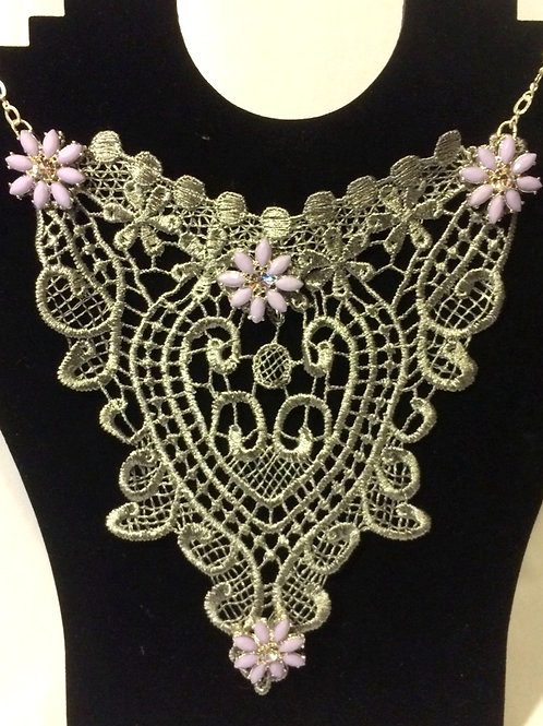 Silver Grey Lace Necklace with Silver plated Chain & Lilac Metal Flowers