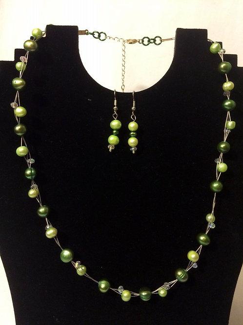 Green Freshwater Pearl & Crystal Set