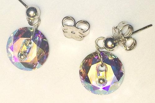 Swarovski Button Earrings, .925 Sterling Silver Studs