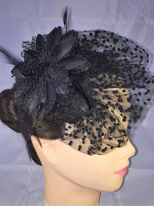 Black Flower Fascinator on a Single Comb