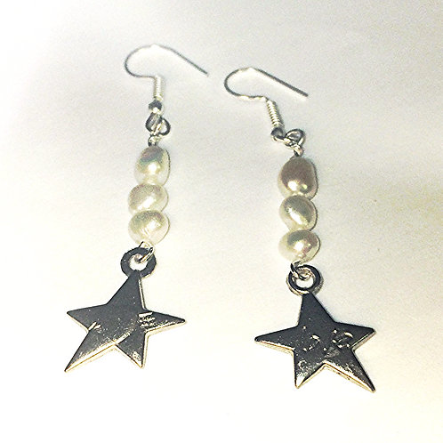 Freshwater White Pearl Sterling Silver Earrings