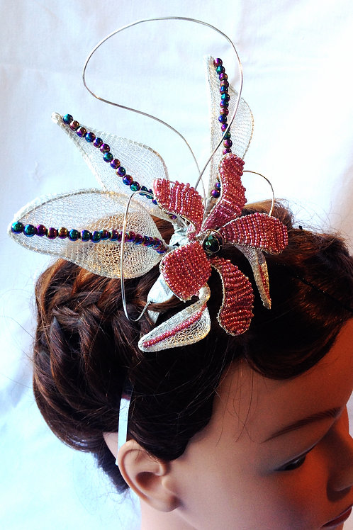 Fascinator - Pink & Silver with Rainbow Haematite Beads