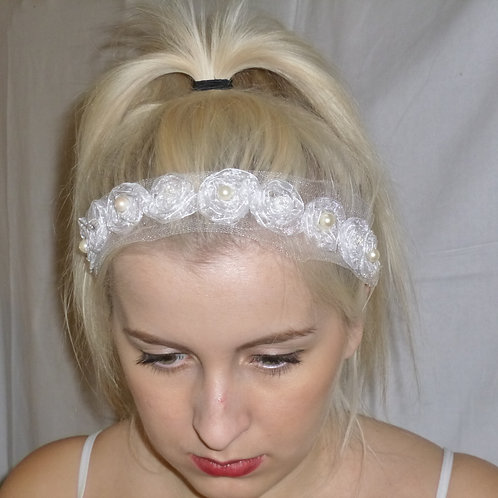Tulle Roses and Freshwater Pearls Head/Waist Band