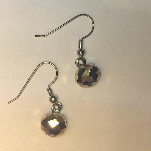 Gold Coloured Haematite Earrings with 9k Gold Plate on .925 Silver Hooks