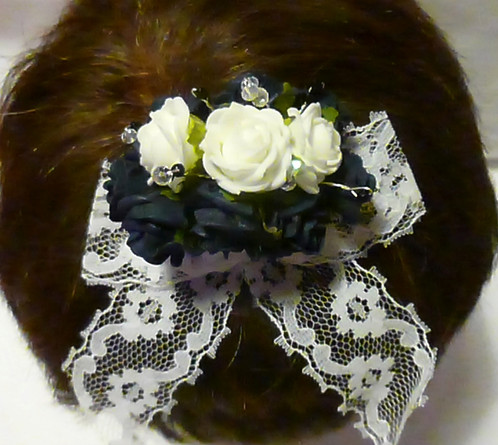 Navy white foam flowers on hair clip navy white foam flowers with white lace ribbon and clear swarovski elements crystals attached to a spring clip mightylinksfo
