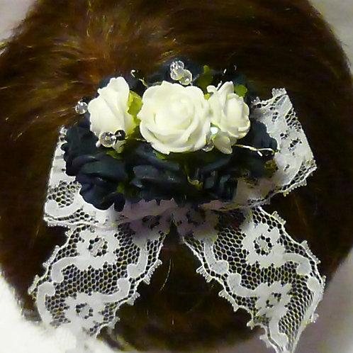 Navy & White Foam Flowers on Hair Clip