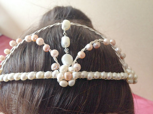 White Cultured Pearl and Pink FW Pearl Tiara
