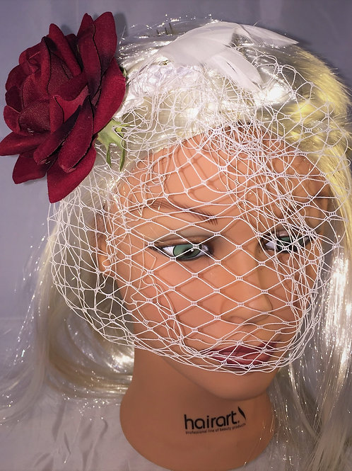 Birdcage Veil with a single Burgandy Rose and White Feathers