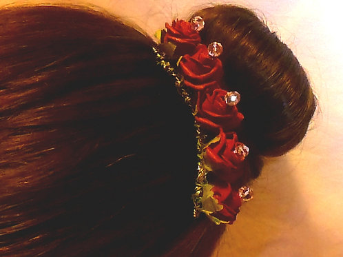 Burgandy Foam Flowers on a Hair Comb with Quartz Crystal Centres