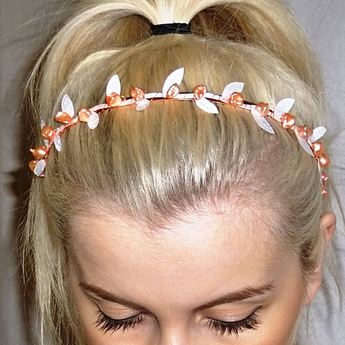 Peach Pearls & Wgite Lace Leaves on a Hairband