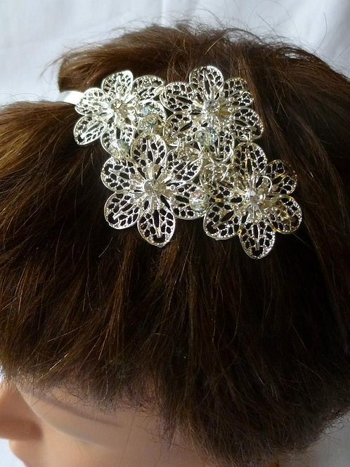 Silver Plate FiligreeFlowers on a  HairBand withClear Quartz Crystals