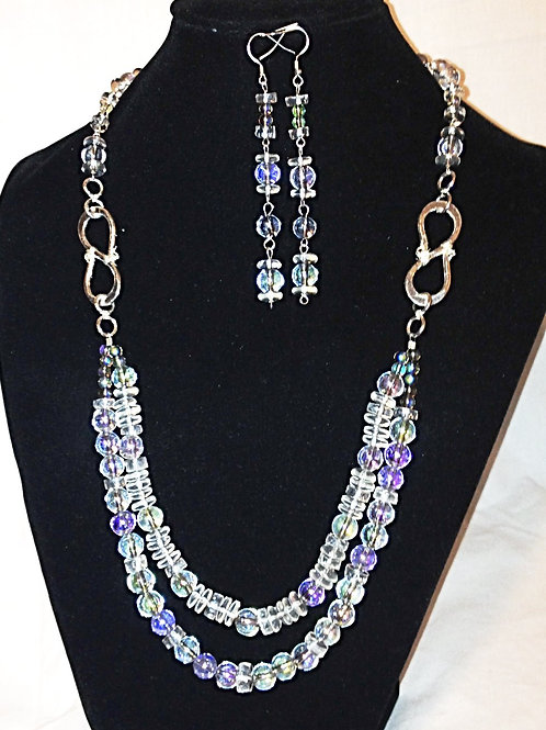 Clear Czech Crystl Necklace & Earrings with .925 Sterlubg Silver Clasps