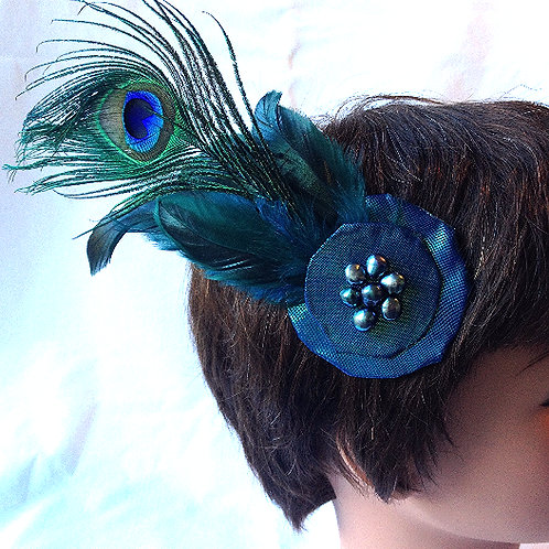 Peacock Feather and Freshwater Pearl Fascinator