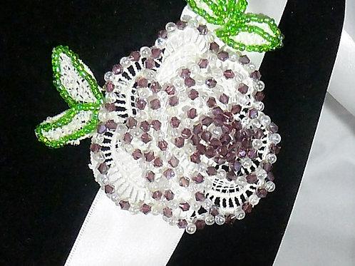 White Lace Flower Waistband/Sash on White Satin Ribbon