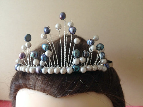 White and Peacock Blue Freshwater Pearl Tiara on a Hairband