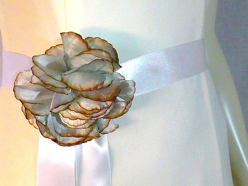 White Ribbon Double Satin Sash with Clip-on Flower