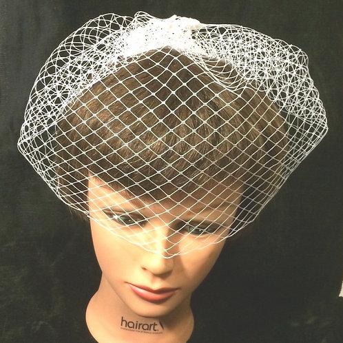 Single Comb Beaded Lace Birdcage Veil