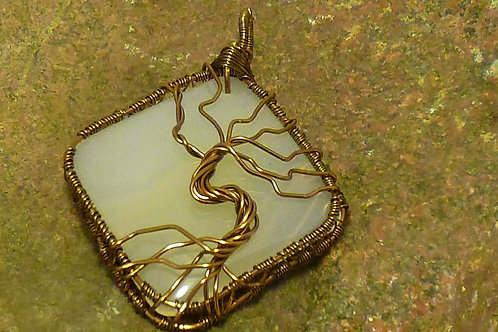 Tree of Life Pendant in Bronze Wire on an Agate Cabachon