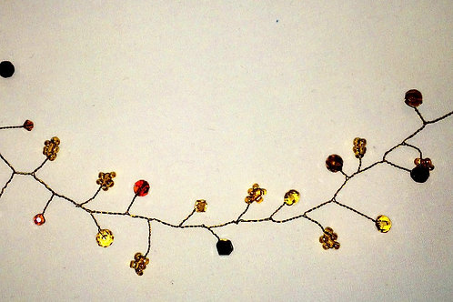 Crystal Hair Vine with Amber Swarovski on Wire