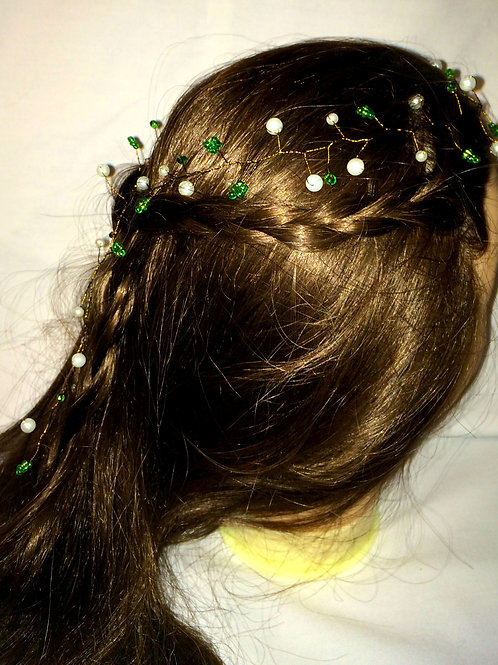 Pearl Hair Vine with Green Swarovksi Crystals