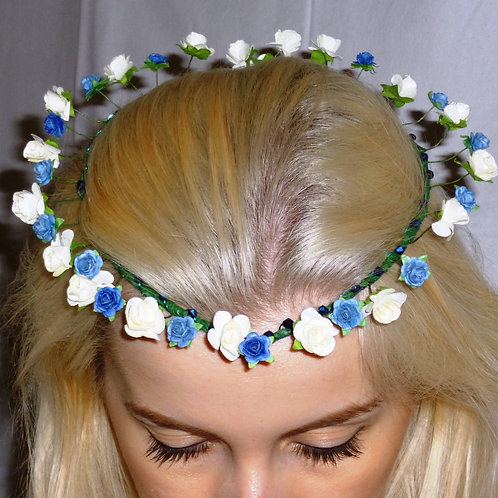 Blue & White Paper Flower Bridesmaid Halo/Crown