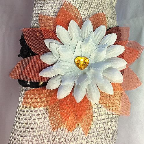 Unusual Orange & White Flower Garter withOrange Swarovski Crystal