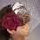 Thumbnail: Birdcage Veil with a single Burgandy Rose and White Feathers