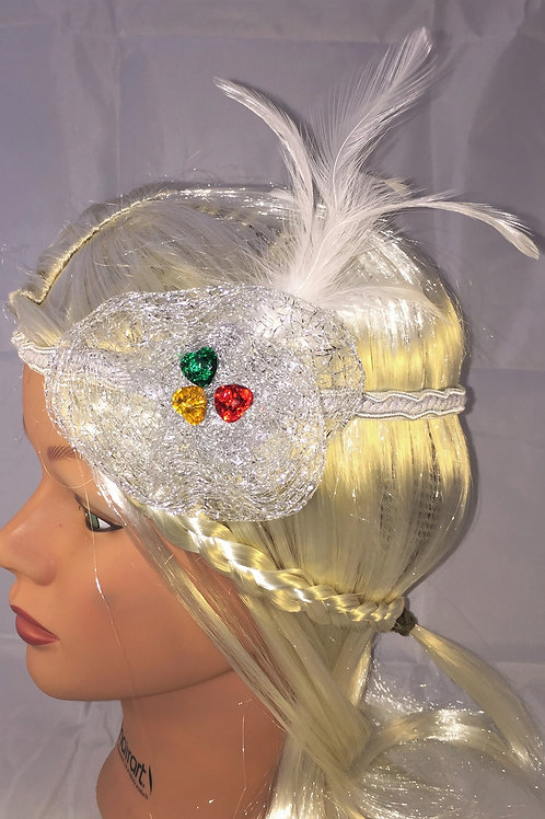 20's Style Headband withWhite Feathers and Swarovski Crystal Hearts