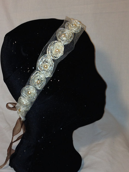 Champagne Freshwater Pearls on Cream Tulle - Hairband or Belt/Sash