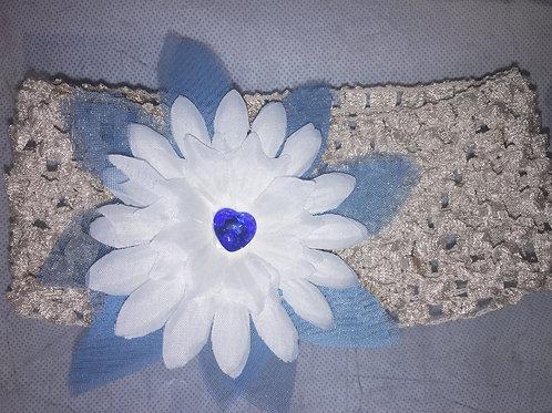 Blue & White Flower Garter with a Blue Swarovski Crystal
