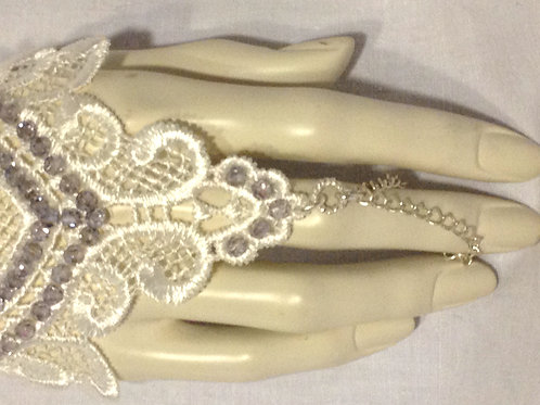 Swarovski Covered White Lace Hand/Wrist Thong