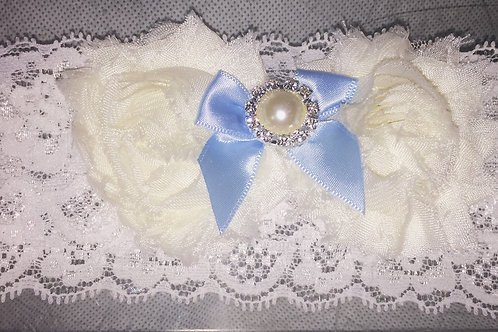 White Flower Garter with Blue Ribbon & Faux Pearl