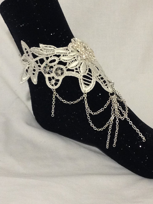 White Lace Bracelet/Anklet with Swarovski Crystals with SP Filigree Flower