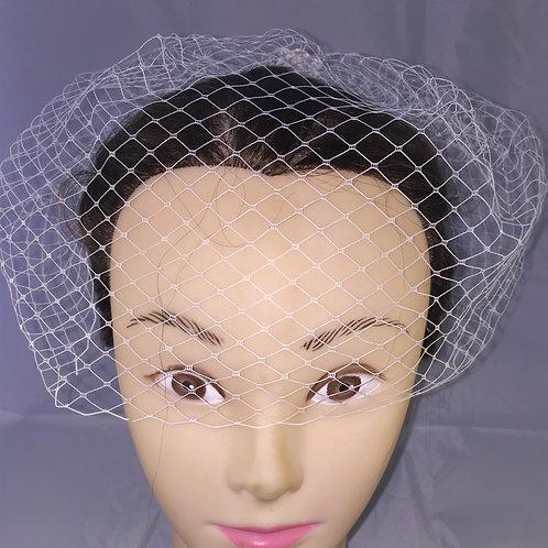Half FaceSingle Cream Birdcage Veil with Cream Lace Flowers