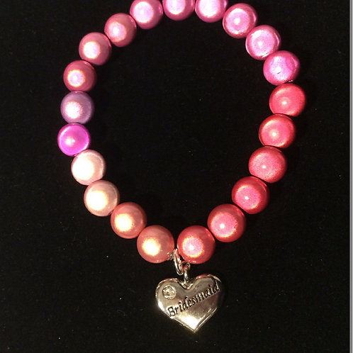 Pink Illusion Bead Bracelet with Heart Charm.