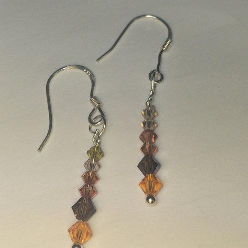Champagne, Brown, Orange Swarovski Crystal Earrings on .925 Sterling Silver Hook