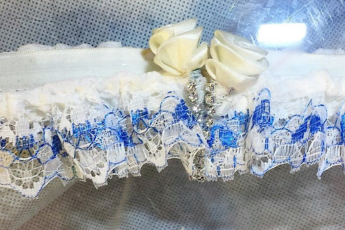 Blue & White Lace Garter With Rosebuds & Glass Crystals