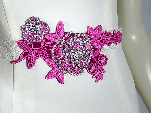 Pink Lace Flower on Cream Lace Ribbon