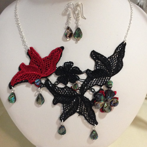 Black & Red Lace with Abalone Shell Pear Drops - Necklace & Earrings