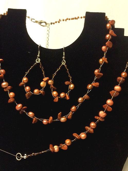 Sandstone Chips & Bronze Freshwater Pearl set