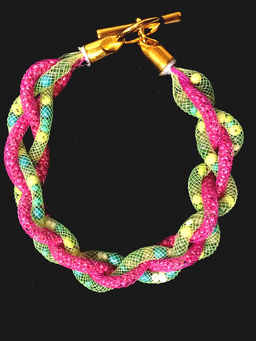 Swarovski-esque Bracelet-Triple Mesh, Colour Beads