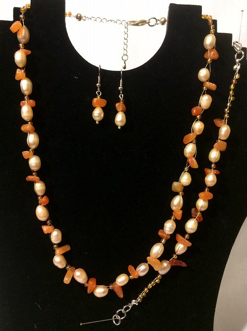 Orange Agate & Champagne Freshwater Pearl  Set